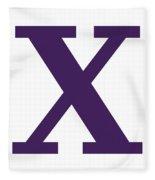 X In Purple Typewriter Style Fleece Blanket