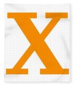 X In Tangerine Typewriter Style Fleece Blanket