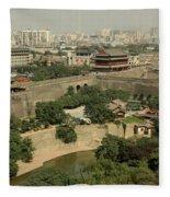 Xi'an City Wall With Skyline Fleece Blanket