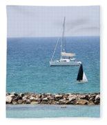 yacht sailing in the Mediterranean sea Fleece Blanket