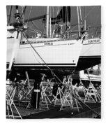 Yachts On Drydock Fleece Blanket
