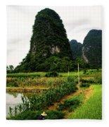 Yangshuo's Limestone Karsts Fleece Blanket
