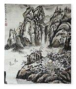 Yangze River With Water Fall Fleece Blanket