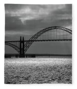 Yaquina Bay Bridge Black And White Fleece Blanket