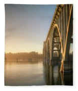 Yaquina Bay Bridge - Golden Light 0634 Fleece Blanket