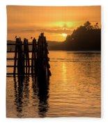 Yaquina Bay Sunset - Vertical Fleece Blanket