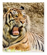 Yawning Bengal Tiger Fleece Blanket