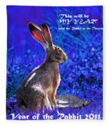Year Of The Rabbit 2011 . Square Blue Fleece Blanket