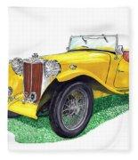 Yellow 1949 M G T C Midget Fleece Blanket