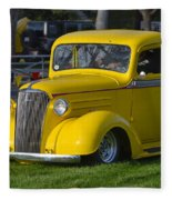 Yellow 30's Chevy Pickup Fleece Blanket