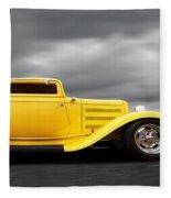 Yellow 32 Ford Deuce Coupe Fleece Blanket