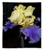 Yellow And Blue Iris Fleece Blanket