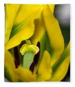 Yellow And Green Tulip Fleece Blanket