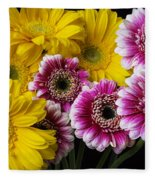 Yellow And Pink Gerbera Daisies Fleece Blanket