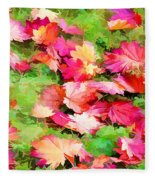 Yellow And Red Fall Maple Leaves Fleece Blanket