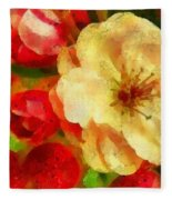 Yellow And Red Floral Delight Fleece Blanket