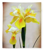 Yellow And White Iris Textured Fleece Blanket