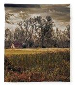 Yellow Barn And The Field Fleece Blanket