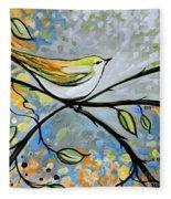 Yellow Bird Among Sage Twigs Fleece Blanket