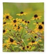 Yellow Black Eyed Susan Wildflowers In Summer Fleece Blanket