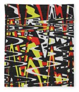 Yellow Black Red White Drawing Abstract Fleece Blanket