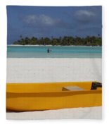 Yellow Boat In South Pacific Fleece Blanket