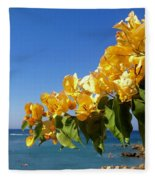 Yellow Bougainvillea Over The Mediterranean On The Island Of Cyprus Fleece Blanket
