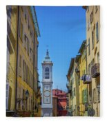Yellow Buildings And Chapel In Old Town Nice, France - Landscape Fleece Blanket