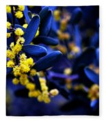 Yellow Bursts In Blue Field Fleece Blanket