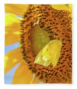 Yellow Butterfly And Sunflower Fleece Blanket