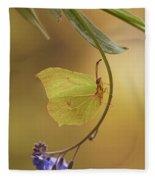 Yellow Butterfly On Blue Forget-me-not Flowers Fleece Blanket