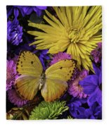 Yellow Butterfly On Bouquet Fleece Blanket