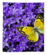 Yellow Butterfly On Mee Fleece Blanket