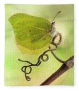 Yellow Butterfly On The Branch Fleece Blanket