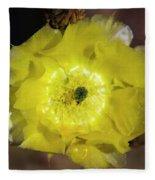 Yellow Cactus Flower Fleece Blanket