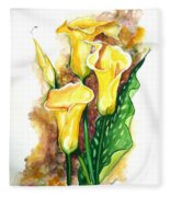 Yellow Callas Fleece Blanket