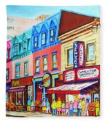 Yellow Car At The Smoked Meat Lineup Fleece Blanket