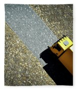 Yellow Car On The Stone Pavement Fleece Blanket