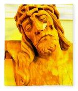 Yellow Christ #1 Fleece Blanket