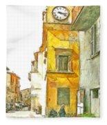 Yellow Clock Tower Fleece Blanket