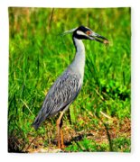 Yellow Crested Night Heron Catches A Fiddler Crab Fleece Blanket
