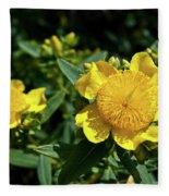 Yellow Crown Flower Fleece Blanket