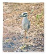 Yellow Crowned Night Heron Along The Tidal Creek Fleece Blanket