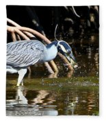 Yellow Crowned Night Heron Catches A Crab Fleece Blanket
