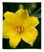 Yellow Daylily Flower Fleece Blanket