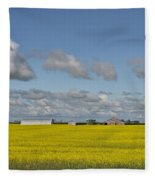 Yellow Fields And Blue Clouds Fleece Blanket