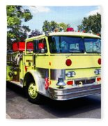 Yellow Fire Truck Fleece Blanket