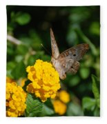Yellow Flower Brown Fly Fleece Blanket