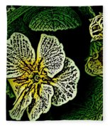 Yellow Flower Woodcut Fleece Blanket