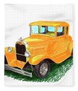 1932 Yellow Ford Hot Rod Coupe Fleece Blanket